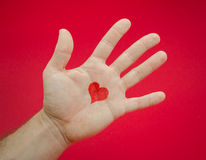 Émotions d'amour dans la main Image stock