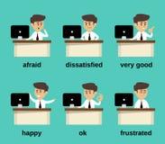Émotions d'homme d'affaires réglées Photos libres de droits