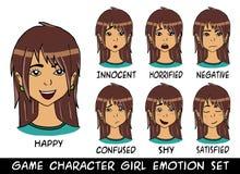 Émotions de cheveux de brun de fille de caractère de jeu réglées Photo stock