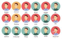 9 émotions de l'homme réglées illustration stock