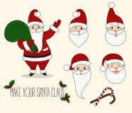 Émotions de Santa Claus de bande dessinée différentes Photos libres de droits