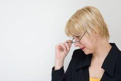Émotions et habitudes du femme d'affaires Photographie stock