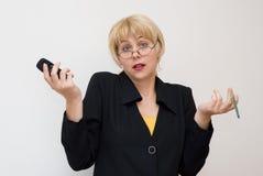 Émotions et habitudes du femme d'affaires Photos libres de droits