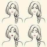 Émotions faciales de femme réglées Image libre de droits