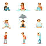 Émotions négatives d'enfants, expression de différents modes Photos libres de droits