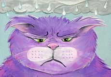 Émotions peintes à la main d'Art Cat Rainy Day Sad Angry de gens Illustration Libre de Droits
