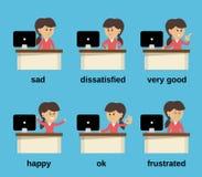 Émotions travaillantes de femme d'affaires réglées Photographie stock libre de droits