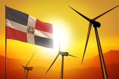 ?nergie ?olienne de la R?publique Dominicaine, concept d'environnement d'?nergie de substitution avec des turbines de vent et dra illustration de vecteur