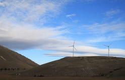 Énergie éolienne en parc national de Sasso de mamie, Italie Photos stock