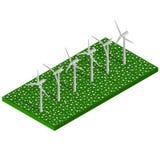 Énergie alternative isométrique de vert d'eco Turbines de vent dans le domaine vert Photos libres de droits