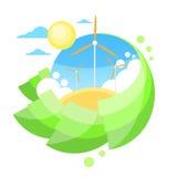 Énergie d'herbe verte de Sun de ciel bleu de tour de turbine de vent Photographie stock