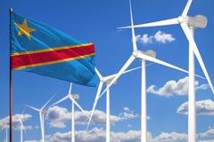 Énergie de substitution du République démocratique du Congo, concept industriel d'énergie éolienne avec des moulins à vent et ill illustration stock