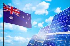 Énergie de substitution de l'Australie, concept à énergie solaire avec le drapeau - symbole de combat avec le réchauffement globa illustration de vecteur