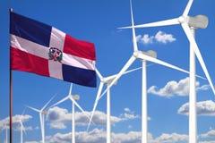 Énergie de substitution de la République Dominicaine, concept industriel d'énergie éolienne avec des moulins à vent et illustrati illustration libre de droits
