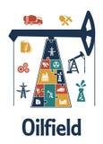Énergie et conception plate d'infographics d'industrie pétrolière  Photos libres de droits