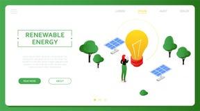 Énergie renouvelable - bannière isométrique colorée moderne de Web de vecteur illustration de vecteur