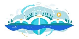 Énergie verte alternative renouvelable Vecteur plat illustration libre de droits