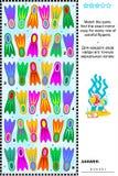 Énigme visuelle avec des rangées des nageoires colorées Photo stock