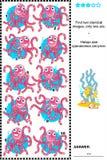 Énigme visuelle - trouvez les poulpes identiques Photos libres de droits
