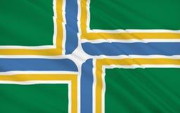Énoncez le drapeau de Portland - une ville située dans le nord-ouest du illustration de vecteur