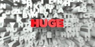 ÉNORME - Texte rouge sur le fond de typographie - 3D a rendu l'image courante gratuite de redevance illustration stock