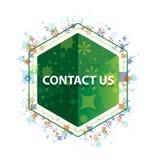 Éntrenos en contacto con botón floral del hexágono del verde del modelo de las plantas ilustración del vector