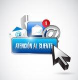 éntrenos en contacto con botón y los iconos en español Imagenes de archivo