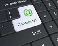 Éntrenos en contacto con en el teclado Imágenes de archivo libres de regalías