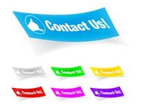 Éntrenos en contacto con, etiquetas engomadas coloridas Imagen de archivo libre de regalías