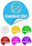 Éntrenos en contacto con, etiquetas engomadas redondas Imágenes de archivo libres de regalías