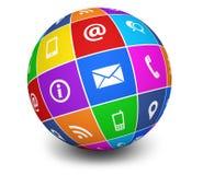 Éntrenos en contacto con globo del web de los iconos Fotos de archivo