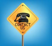 Éntrenos en contacto con icono fotografía de archivo libre de regalías