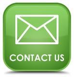 Éntrenos en contacto con (icono del correo electrónico) botón cuadrado verde suave especial ilustración del vector