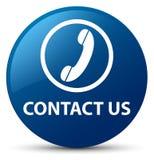 Éntrenos en contacto con (icono del teléfono) botón redondo azul stock de ilustración