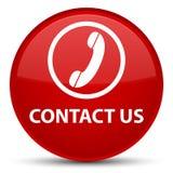 Éntrenos en contacto con (icono del teléfono) botón redondo rojo especial ilustración del vector