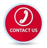Éntrenos en contacto con (icono del teléfono) botón redondo rojo primero plano stock de ilustración