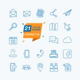 Éntrenos en contacto con - línea fina mínima sistema del icono del web Foto de archivo libre de regalías