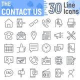 Éntrenos en contacto con línea sistema del icono, colección de los símbolos del web stock de ilustración