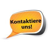¡Éntrenos en contacto con! - Lengua alemana Imagen de archivo