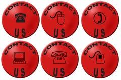 Éntrenos en contacto con los botones imágenes de archivo libres de regalías