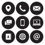 Éntrenos en contacto con los iconos fotografía de archivo