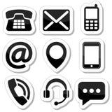 Éntrenos en contacto con los iconos como etiquetas Imagen de archivo