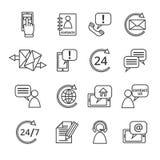 Éntrenos en contacto con los iconos del servicio Imagen de archivo