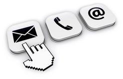 Éntrenos en contacto con los iconos del sitio web en los botones Fotografía de archivo libre de regalías