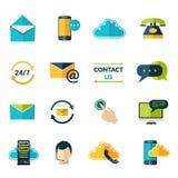 Éntrenos en contacto con los iconos fijados libre illustration