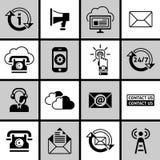 Éntrenos en contacto con los iconos fijados blancos y negros Imagen de archivo