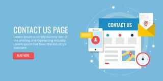 Éntrenos en contacto con página - forma de investigación - contacto del correo electrónico - trace el concepto Bandera plana del  libre illustration