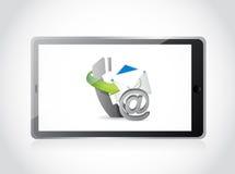 Éntrenos en contacto con para fijar diseño del ejemplo de la tableta Foto de archivo