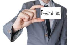 Éntrenos en contacto con por el email Fotos de archivo libres de regalías