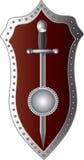 Épée avec un bouclier sur un fond blanc illustration libre de droits